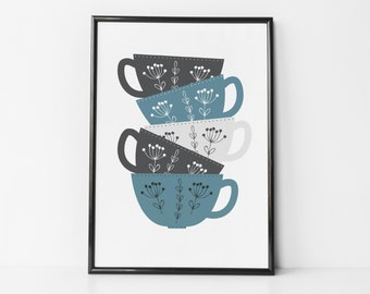 Tea / Coffee Cup Stack Print For Kitchens - scandi style - kitchen print - housewarming gift - friendship gift - tea lovers gift