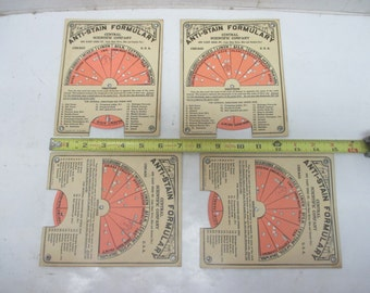 Lot of 4 Anti-Stain Formulary Paper Wheels From Central Scientific Company Dated 1915