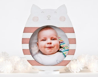 Cat Photo Frame, Pink Picture Frame, Pink Nursery Decor, Baby Shower Gift, Cat Lover Gift, Newborn Gift, Girls Room Decorations, Mom Gift