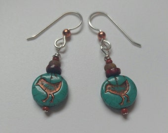 Chick earrings blue green turquoise czech glass earrings with wood and dsrk red heisi beads, chick dangle earrings