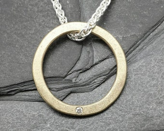 Little sparkle Circle - solid 9ct 9k gold diamond pendant, UK, custom made, hand made