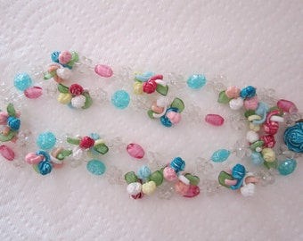 Vintage West Germany pastel flower garland necklace double strand