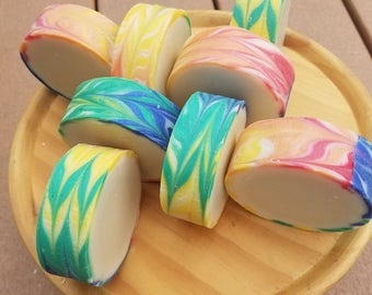 True Colors-Cold Process Rimmed Soap-3.5 ounces-rainbow swirl with a fruity citrus scent
