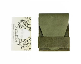 "Olive Green Leather Business Card Wallet, Card Holder, Birdbags ""Beak"""
