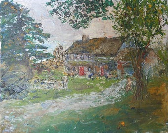 vintage small landscape oil painting house and trees signed