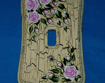 Distressed Light Switch Plate Hand Painted Shabby Chic Light Switch Cover Custom Single Wood Wall Plate Decorative Pink Roses Wood Gift