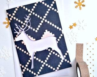 Reindeer Christmas Card - Pack of Ten Cards - Christmas Card Set - Papercut Xmas Card - Holiday Card Set - Secular Holiday Card - Reindeer