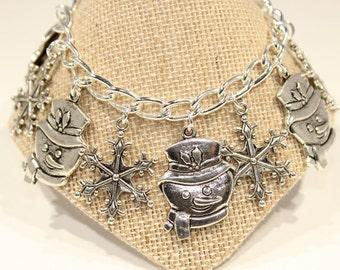Silver Snowflake  Bracelet - Festive Bracelet - Holiday Jewelry - Snowman and Snowflake Bracelet -Snowflake Jewelry - Love to Ski Gift