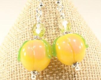 Peach Earrings Fruit Earrings Fruit Jewelry Peach Glass Earrings Peach Lampwork Earrings