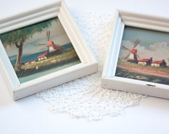 Pair of Small Original Oil Paintings, Vintage Signed Lambert Windmill Landscape Oil Paintings On Board - Pair, Dutch