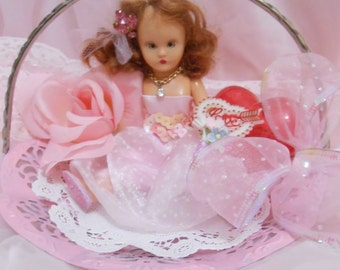 Vintage Valentine Girl Altered Shabby Chic Firgurine OOAK Mixed Media Kitsch Whimsical Storybook Doll