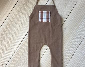 Brown Newborn Romper Prop - Ready to Ship - Long Pant Romper Bodysuit