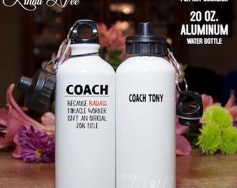 Personalized Coach Water Bottle, Fitness Water Bottle, Sports Coach, Baseball Coach, Hockey Coach, Football Coach, Gym Water Bottle MPH290