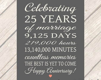 25th ANNIVERSARY Gift 25 Years Printable Sign Parents Anniversary Gift Sign LARGE POSTER Party Banner Download Quick Gift 8x10 16x20