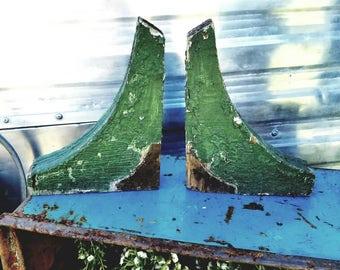 Chippy Green Wood Corbels, Shelf Braces,
