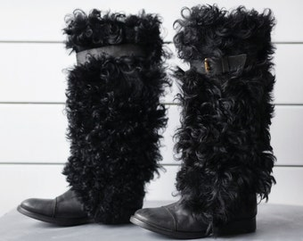 Vintage long black sheep fur shaft warm winter snow knee high boots Size 36 6