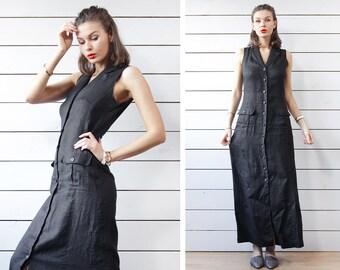 90s vintage black pure linen button up sleeveless full length shirt maxi dress S