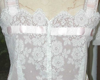 No. 500 Restored & Finished White Cotton Valenciennes Lace Camisole, Silk Crepe Lining