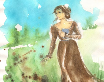 Elizabeth Bennet, original watercolour painting