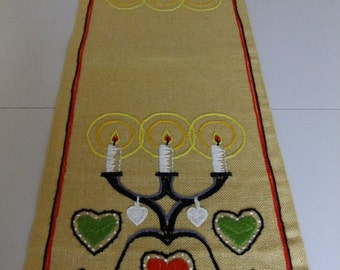 Vintage Swedish Embroidered Christmas table runner - Candelabras on yellow linen fabric