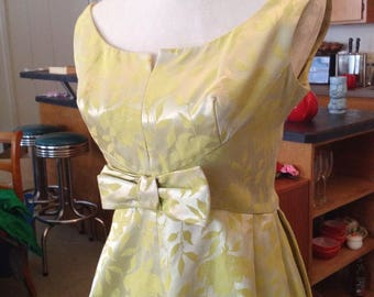 Pale yellow Mad Men wiggle party dress