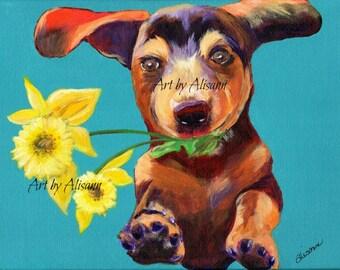 Flower Power Dachshund - Doxie  - Dog Art - Art Print from Original Art- Dog Portrai