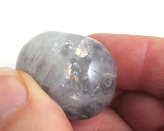 Large Phantom Quartz Freeform Nugget Focal Bead Crystal Clear Qty 1