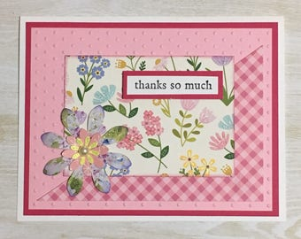 Greeting card, thank you card, handmade card, all occasion card, butterfly, flowers, embossed