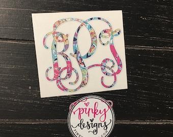 Lilly Pulitzer Vine Monogram Decal - Monogram Sticker - Laptop Sticker - Phone Sticker - Personalized Monogram - Choose your pattern!