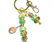 Bright Greens Beaded Key Ring With Follow Your Dreams Charm