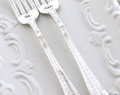 Mr. & Mrs. WEDDING Forks Cake Table Setting Decor Forks Hand Stamped - MARQUISE 1933 - Ready To Ship