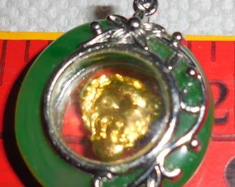Chinese Jade and  Goldtone Buddha Pendant I Like my Buddhas Twirling Inside A  Round Green Jade