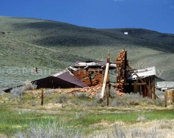 Ruins Bricks Wood California Historical Bodie Ghost Town, Original Photograph, Fine Art Photography matted, signed 5x7 Original Photograph
