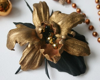 Gold Metallic Leather Orchid Flower Brooch/ Hairclip