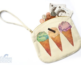 Ice Cream Canvas Zip Purse, Makeup Bag, Coin Purse, Small Accessory Pouch