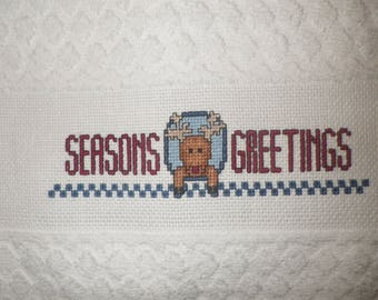 """Seasons Greetings Reindeer XL Hand Towel 16x24"""" Kitchen Guest Bath Completed Cross Stitch Moose Shower Bathroom Holiday Christmas Gift Blue"""
