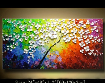 contemporary wall art,Palette Knife Painting,colorful flowers  painting,wall decor,Home Decor,Acrylic Textured Painting ON Canvas Chen 0117