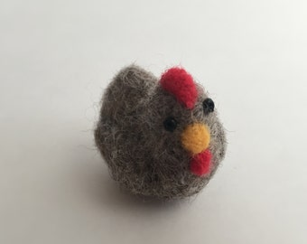 Miniatures Little grey Hen - Needle felted hen - felted chicken needle felt farm animals - needle felted toys - collectables - handmade