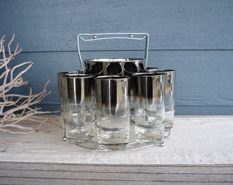 Vintage Mid Century Silver Ombre Barware Set, Chrome Caddy, Ice Bucket and Set of 8 Highball Glasses