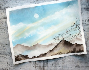 Sunny day landscape original watercolor painting 11x14