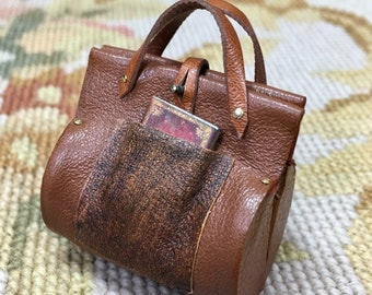 Carpet Bag Purse Luggage Valise - by Pat Tyler Leather Dollhouse Miniatures