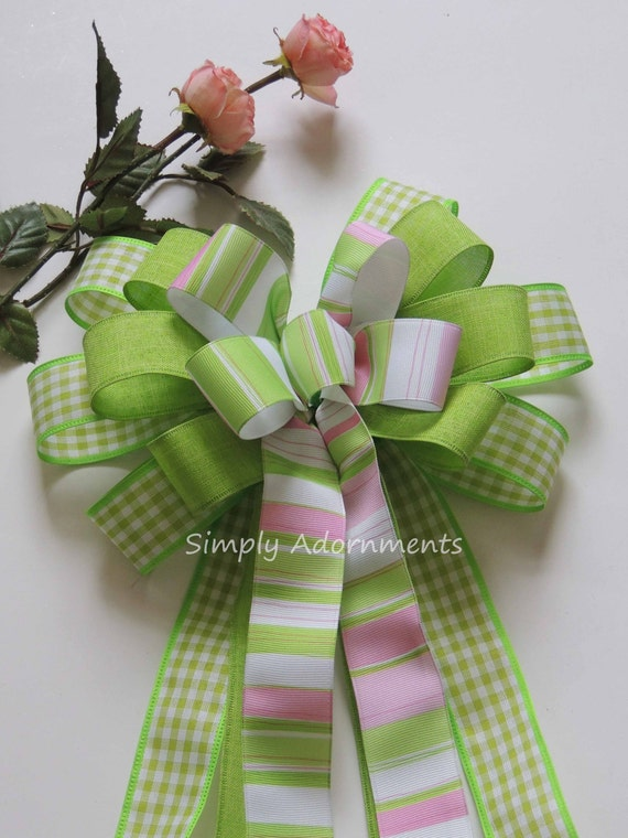 Spring Green Easter Bow Green Stripes Easter Wreath Bow Chartreuse Green Wedding Pew Bow Easter Gift Bow Spring Stripes Door Hanger Decor