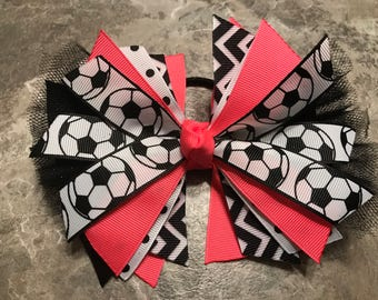 Soccer Bow - Soccer Ponytail - Neon Soccer Bow - Soccer Hairbow - soccer ribbon - soccer hair tie - streamer - Neon Pink Soccer bow - team