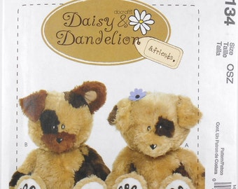 Craft Pattern McCalls Number M6134 Daisy and Dandelion Plush Dogs Sewing Pattern Craft Patterns 18 Inches Dolls Destash Commercial Supply