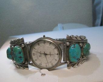 "Vintage Sterling Silver Southwestern Turquoise Watch Tips, RLB, Robert and Bernice Leekya, 3/4"" lug, Men's"