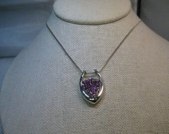 """Sterling Modern Horseshoe Amethyst Necklace, Diamond Accents Sterling Silver, 18"""" Box Chain"""