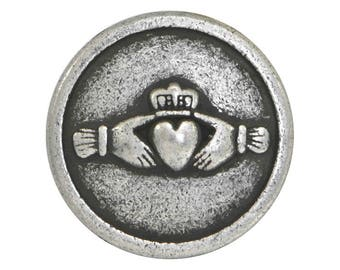 6 Claddagh Hands and Heart 9/16 inch ( 15 mm ) Metal Buttons Antique Silver Color