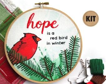 Red Bird Embroidery Kit, DIY Crafts, Cardinal Embroidery Hoop Art, Embroidery Design, Gifts for Girl Friends, Hope Inspirational Wall Art