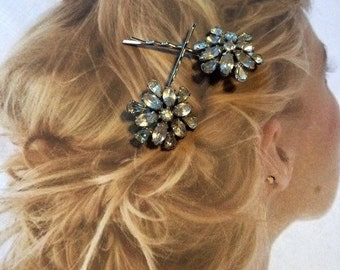 Bridal Hair Jewelry Decorative Art Deco Paste Rhinestone Hairpins Bobby Pins