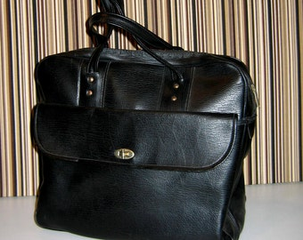 Vintage Black Faux Leather Satchel, Man Bag, Tote or Overnight Bag